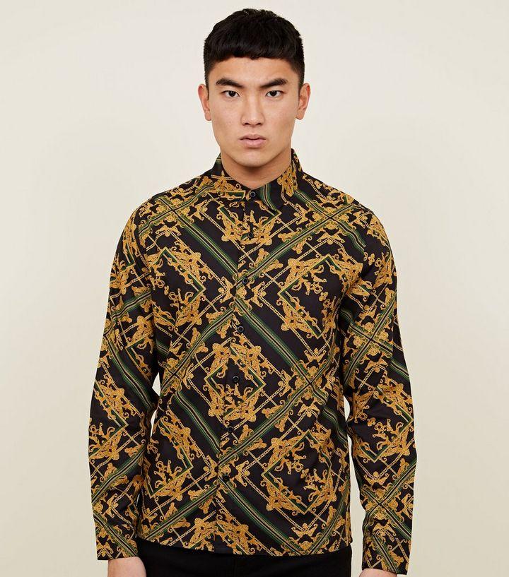 857d71d25f7 Black and Gold Baroque Print Long Sleeve Shirt