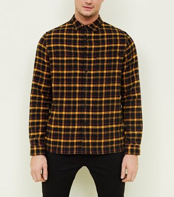 Mustard Brushed Check Shacket