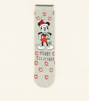 Grey Disney Mickey Mouse Christmas Socks