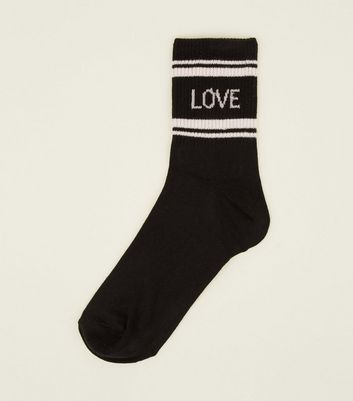 1 Pack Stripe Ribbed Love Slogan Socks