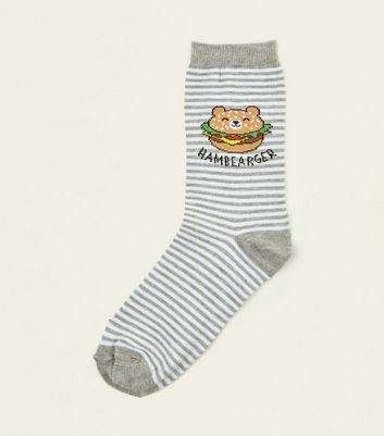 Grey Stripe Hambearger Slogan Socks