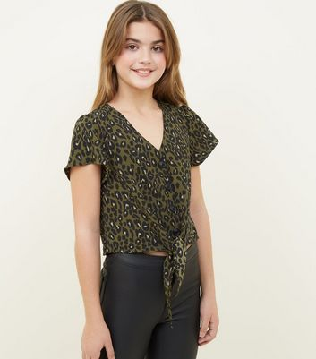 Girls Green Leopard Print Tie Front Blouse