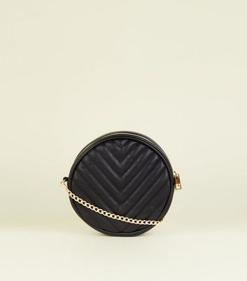 Black Chevron Quilted Round Cross Body Bag by New Look