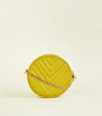 Yellow Chevron Quilted Round Cross Body Bag