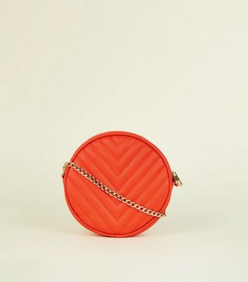 Orange Chevron Quilted Round Cross Body Bag