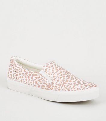 Stone Leopard Print Slip On Trainers