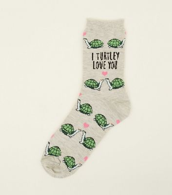 1 Pack Grey I Turtley Love You Socks