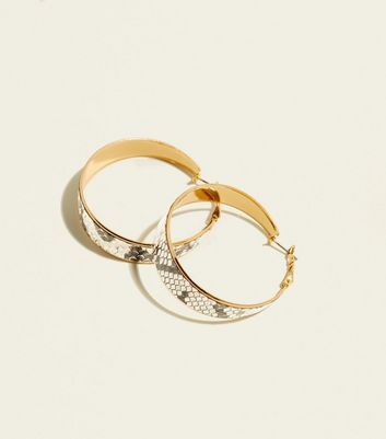 Gold Wide Snake Print Hoops