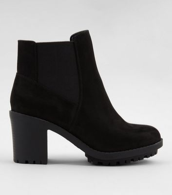 Wide Fit Black Suedette Platform Chelsea Boots Add to Saved Items Remove from Saved Items