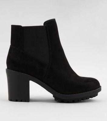 Black Suedette Platform Chelsea Boots