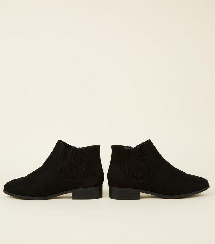 d0a1c1ab1987 ... Wide Fit Black Suedette Flat Chelsea Boots. ×. ×. ×. Shop the look
