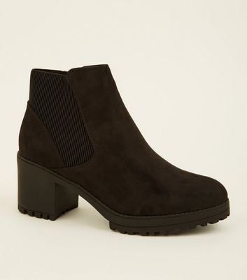 Black Suedette Chunky Chelsea Boots
