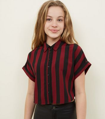 Girls Red Stripe Boxy Shirt