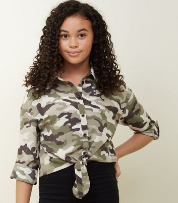 Girls Green Camo Tie Front Shirt
