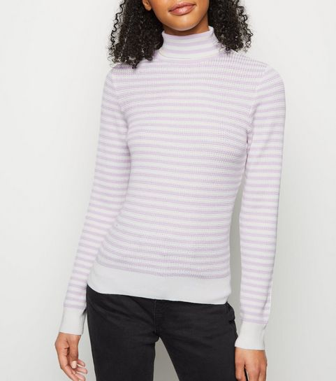 7e2dbabdb ... Lilac Stripe Ribbed Knit Roll Neck Top ...