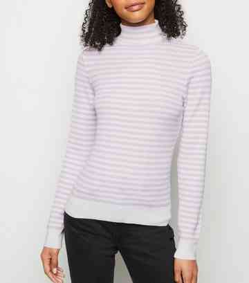 Lilac Stripe Ribbed Knit Roll Neck Top