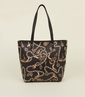 Black Chain Print Tote Bag