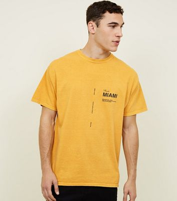 Yellow Washed Look Florida Miami Cotton T-Shirt