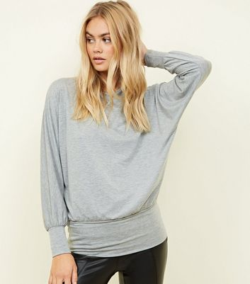Grey Marl Batwing Sleeve Top
