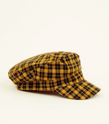 Yellow Check Baker Boy Hat