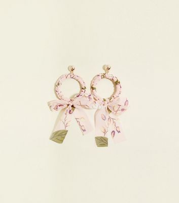 Pale Pink Floral Wrapped Hoops