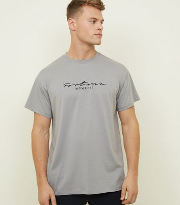 Pale Grey Fortune Embroidered Logo T-shirt