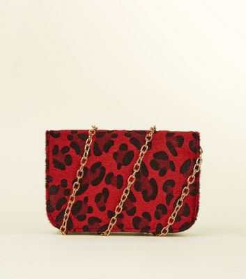 Red Leopard Print Cross Body and Belt Bag