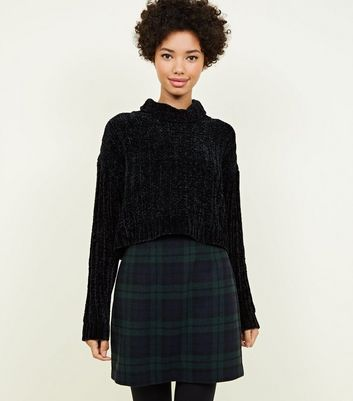 Dark Green Brushed Check A-Line Skirt