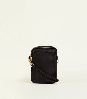 Black 3 Zip Pocket Cross Body Bag