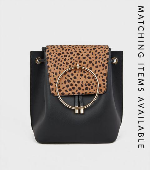 b7b5e8ade0 ... Black Animal Print Ring Front Backpack ...