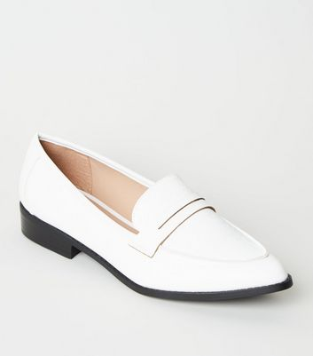 White Faux Croc Pointed Penny Loafers