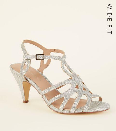 Wide Fit Silver Glittery Cut Out Stiletto Heels