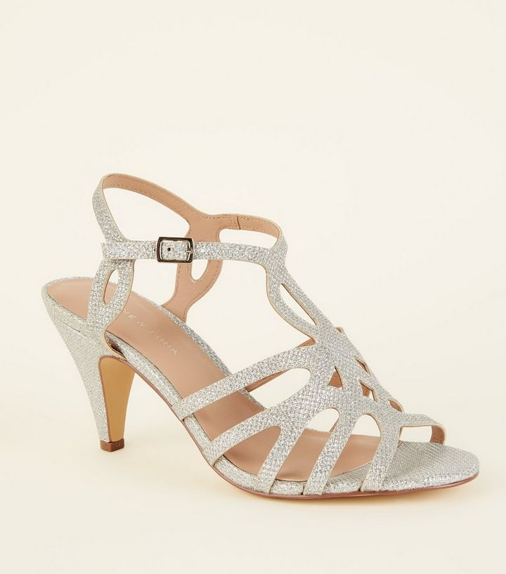 f252e976d4c Wide Fit Silver Glitter Strappy Dancing Shoes