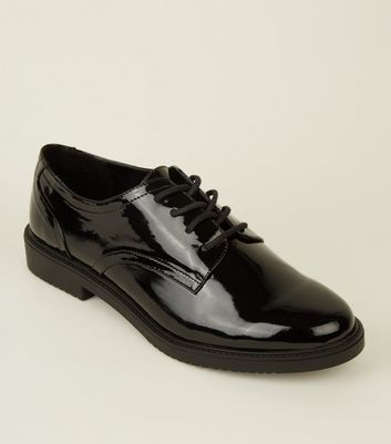 Wide Fit Black Patent Chunky Shoes