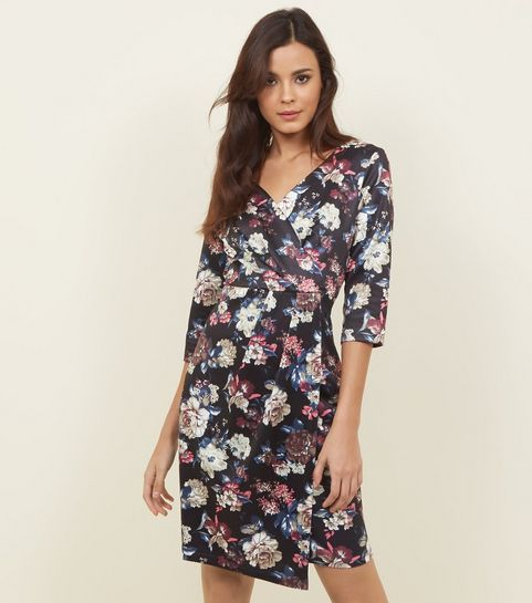 Floral dresses floral bodycon wrap tea dresses new look blue vanilla black floral wrap front dress mightylinksfo