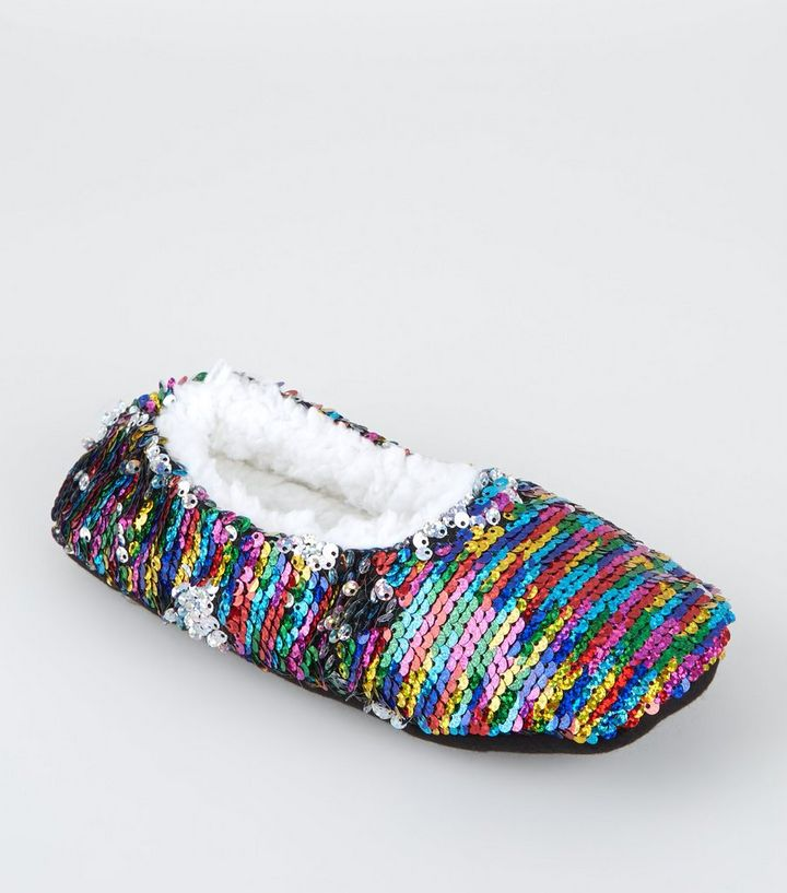2298698f66f5 Rainbow 2-Way Sequin Fluffy Ballet Slippers
