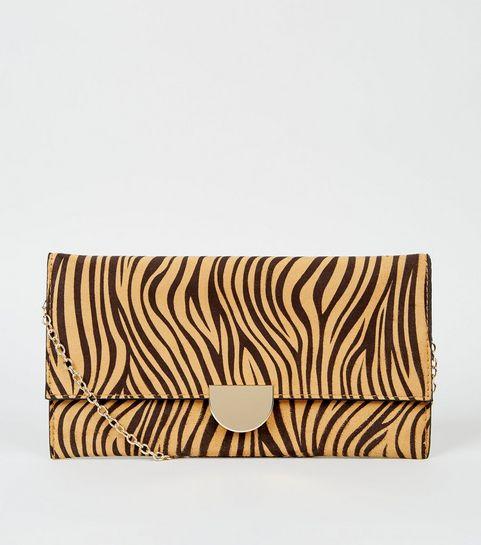 ead15a9e3c46 ... Light Brown Tiger Print Clutch Bag ...