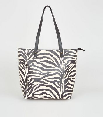 Grey Zebra Print Tote Bag