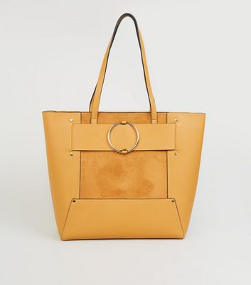 Mustard Leather-Look Ring Strap Tote Bag