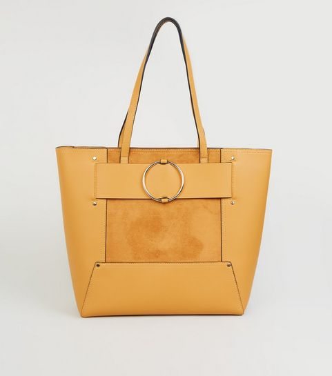 ... Mustard Leather-Look Ring Strap Tote Bag ... 1a201b889