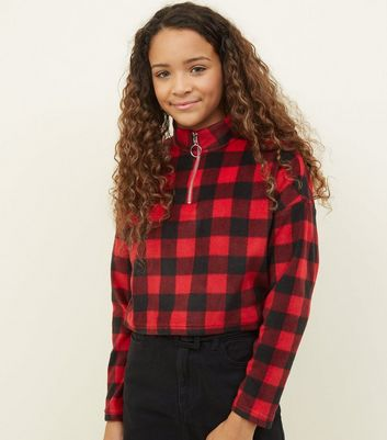 Girls Red Check Ring Zip Fleece Sweatshirt