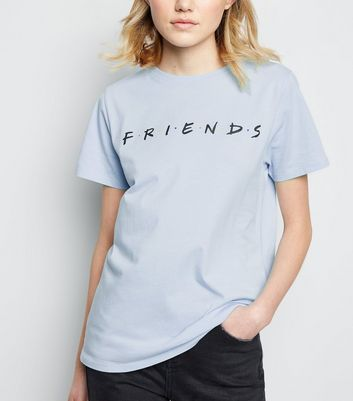 Pale Blue Friends Slogan T-Shirt