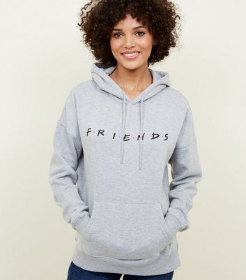 Grey Marl Friends Logo Oversized Hoodie