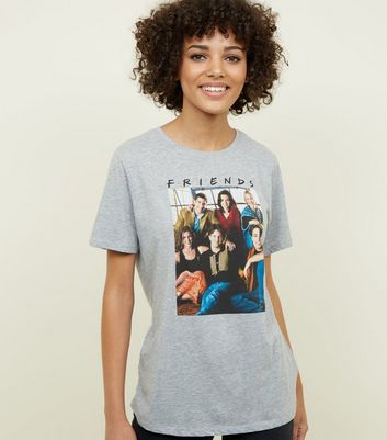 Grey Marl Friends Photographic Oversized T-Shirt