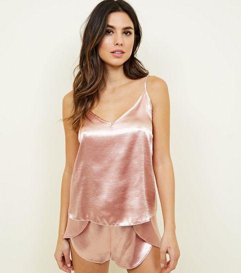 7a1d8edd03 ... Rose Gold Satin Cami and Shorts Pyjama Set ...