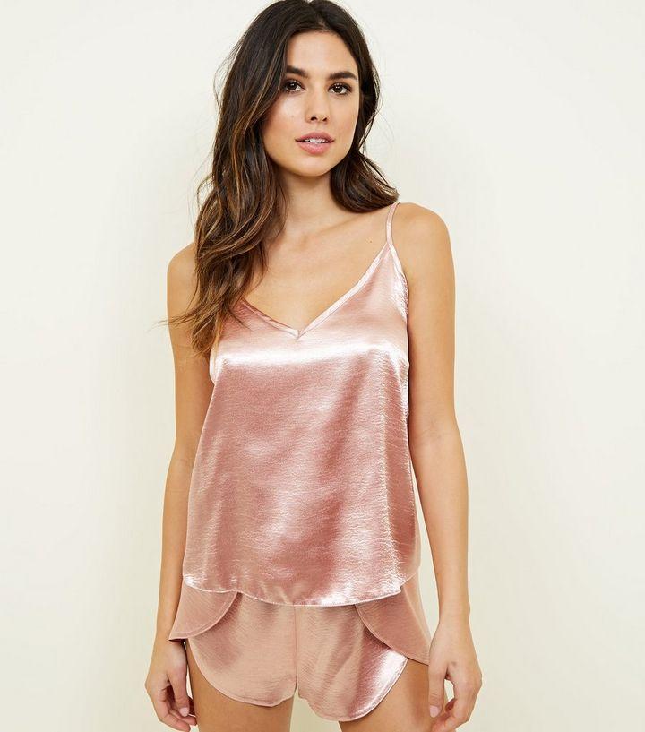 f7e55988787b6 Rose Gold Satin Cami and Shorts Pyjama Set