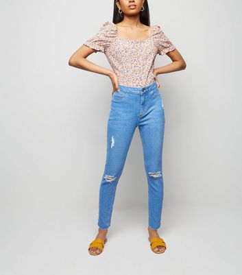 Petite Bright Blue High Waist Ripped Skinny Jeans