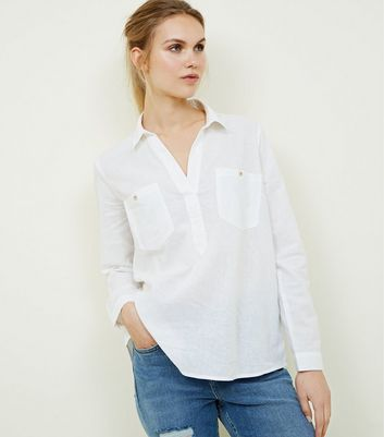 White Linen Blend Pocket Front Overhead Shirt