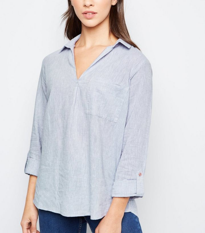 181b0fc3a74c40 Grey Linen Blend Overhead Shirt | New Look