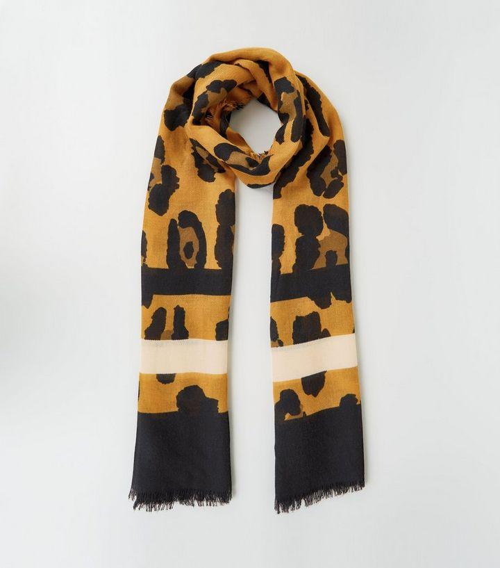 c8d29427574 Écharpe longue rouge brique rayée à imprimé léopard